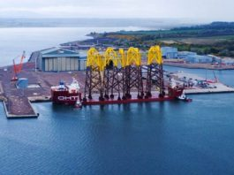 First jacket foundations arrive for Moray East Offshore wind farm